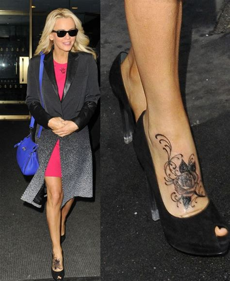 jenny mccarthy s tattoos beautiful rose tattoo on foot