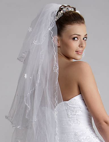 wedding veil three tier fingertip veils cut edge 47 24 in 120cm tulle white ivorya line