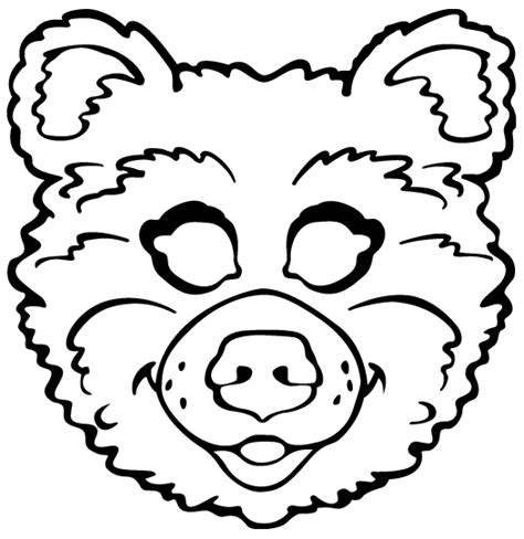 bear mask coloring page pin bear mask colouring pages on pinterest