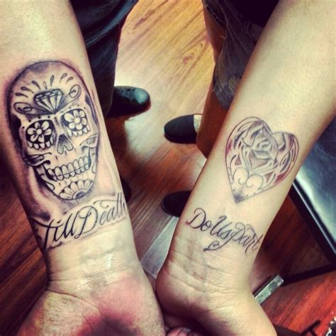 day of the dead couple tattoos matching ideas his and hers quot till do us part