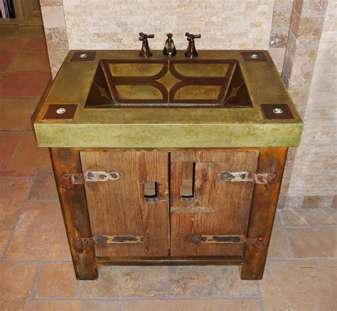 Custom made vanity with rustic base and integral concrete sink by elements concrete custommade com