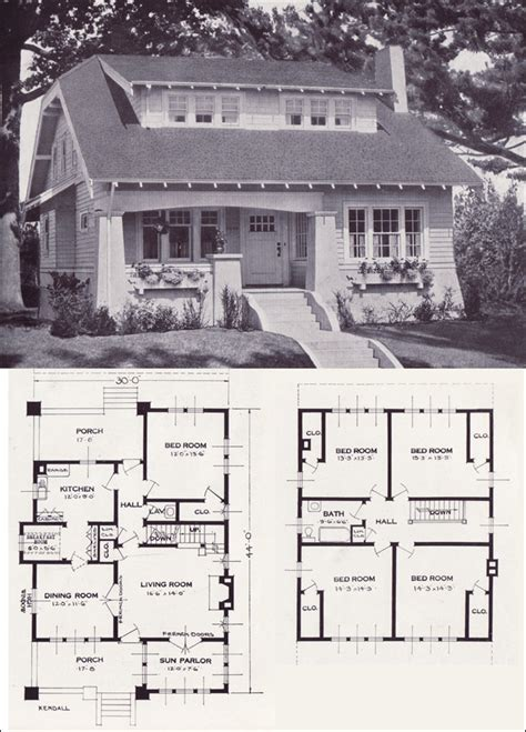 1920s bungalow floor plans clipped gable bungalow cottage the kendall 1923 standard homes company house plans of the