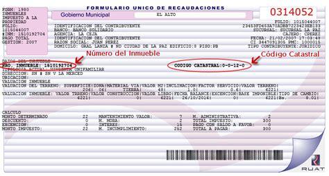 ejemplo de formulario impuestos de inmuebles ruat registro unico para la administracion tributaria