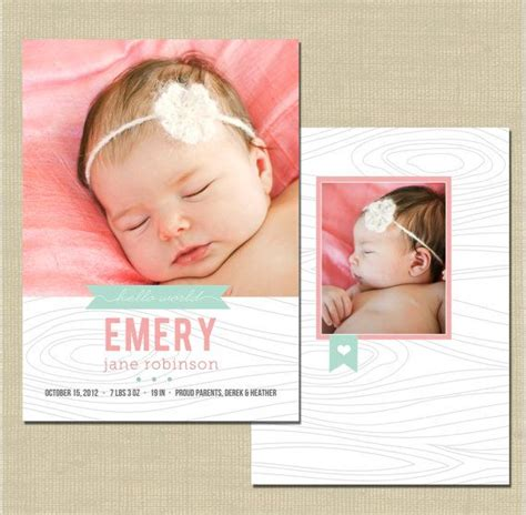 birth notice template birth announcement photoshop card template precious on