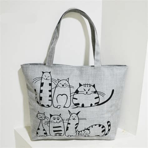Tote Cat cat printed canvas tote bag for casual virtue bags