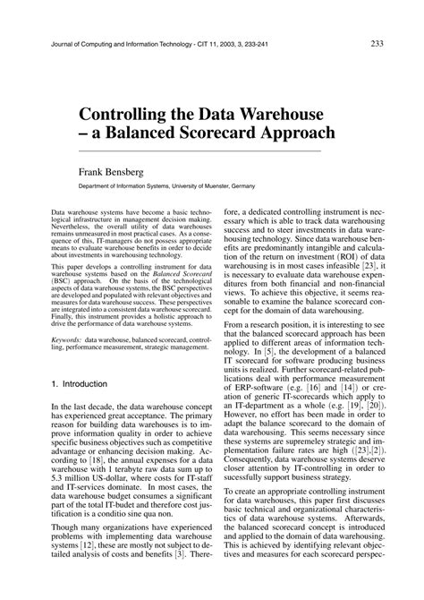data warehouse research paper pdf controlling the data warehouse a pdf available