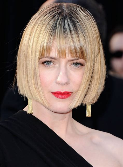 blunt cut hairstyles with bangs celebrity short straight bob haircut with blunt bangs