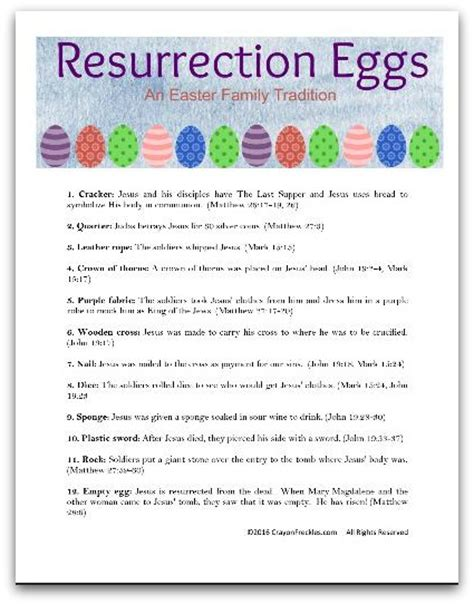 printable children s version of the easter story crayon freckles resurrection eggs the easter story for
