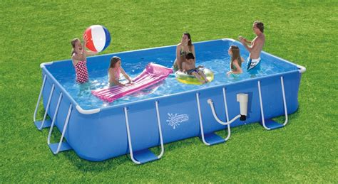 "Summer Escapes 8 ft x 14 ft x 36 in Rectangular Frame Pool Set   8' x 14' x 36"" Rectangle Metal"