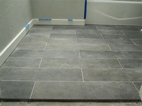 Gray Porcelain Tile Bathroom by Crossville Ceramic Co From The Great Indoors 6 X 24 Planks Color Lead Promo 9 Sq Ft