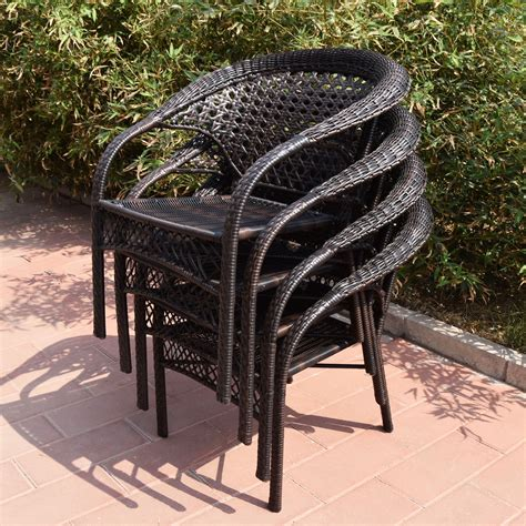 Adeco Brown Wicker Patio Furniture Dinning Set Dinning Brown Wicker Patio Furniture