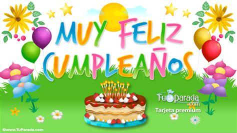 imagenes feliz cumpleaños tortas tarjeta de muy feliz cumplea 241 os con torta cumplea 241 os