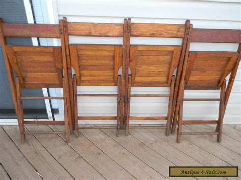 Wooden Folding Chairs For Sale by Vintage Wooden Oak Folding Chairs Set Of 4 For Sale In