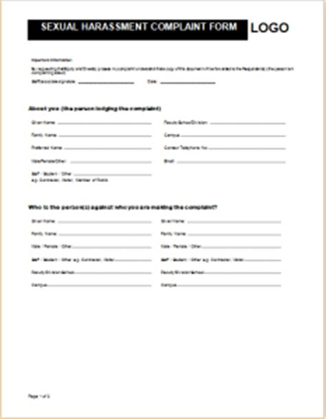 Official Complaint Form Templates For Word Formal Word Templates Harassment Report Template