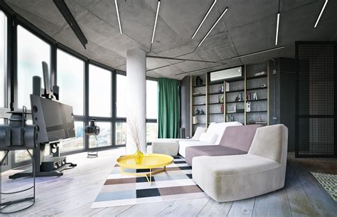 modern industrial living room industrial small apartment design attempts to decor with a circuit board and wooden accent