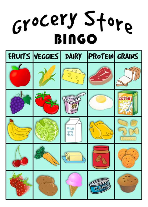 printable food poster grocery store bingo