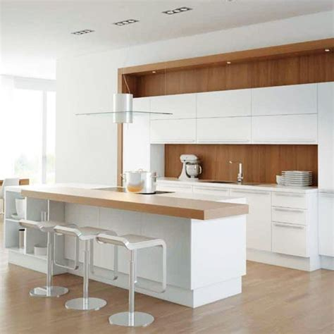 White And Wood Kitchen | white kitchen with warming wood splashback white