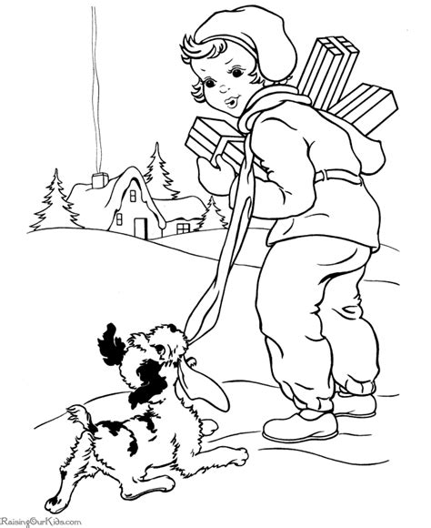 christmas puppy coloring page printable coloring pages a puppy and presents christmas coloring pages