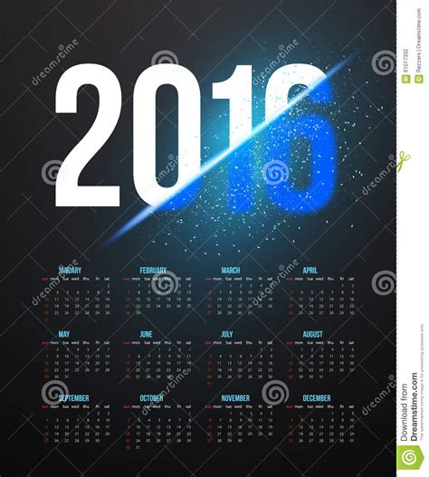 new year photo effect new year 2016 calendar with explosion effect stock vector