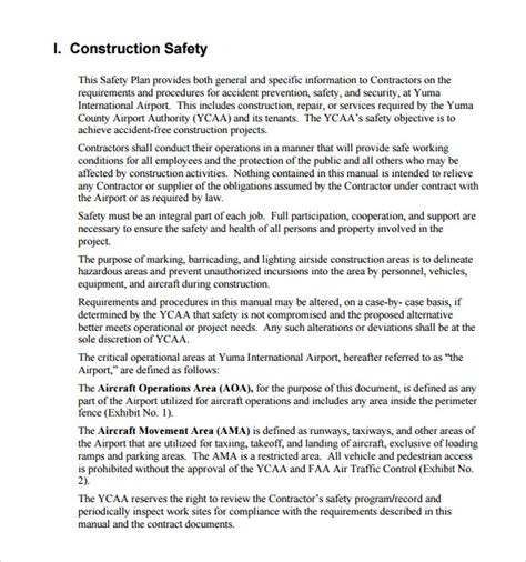 11 Safety Plan Templates Free Sles Exles Format Sle Templates Construction Safety Policy Template