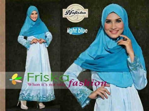 nafisha syar i light blue baju muslim gamis modern