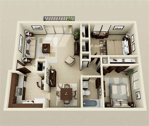 One Bedroom Apartment Designs Exle 25 Best Ideas About 2 Bedroom Apartments On Pinterest 3d House Plans 2 Bedroom Floor Plans