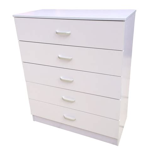 White Drawers chest of drawers 5 drawer bedroom furniture black beech