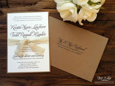 rustic wedding invitation kraft lace