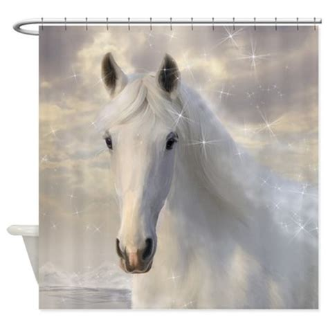 horse shower curtains sparkling white horse shower curtain by showercurtainshop