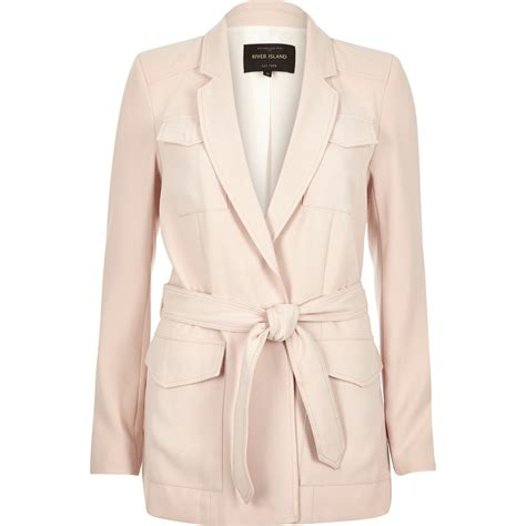 Smartsexy Light Pink lyst river island light pink smart belted jacket in pink