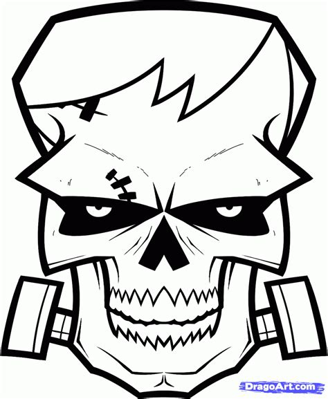 army skull coloring pages how to draw a frankenstein skull step by step