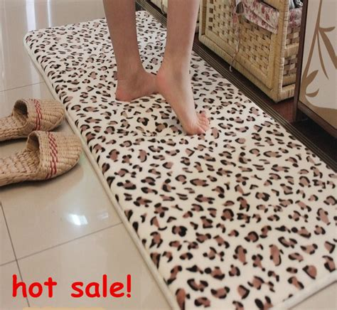 leopard print bathroom rugs 45 120cm bathroom products memory foam mats slip resistant