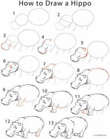 How To Draw Step By Step How To Draw A Hippo Step By Step Pictures Cool2bkids