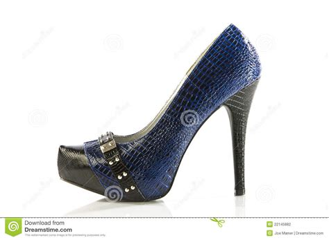 blue and black high heels blue and black stiletto high heel shoe stock photo image