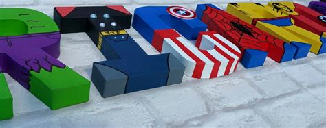 marvel superhero wood block home decor kids by superhero letters personalised hand painted papier mache