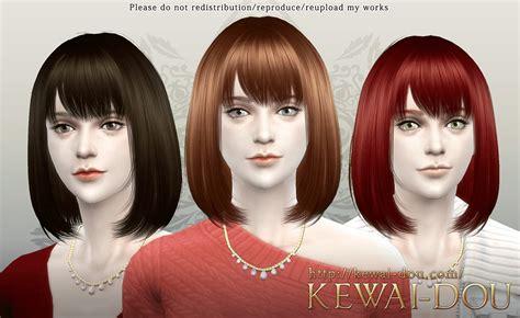child bob haircut sims 4 kewai dou cecile bob with bangs hairstyle sims 4 hairs