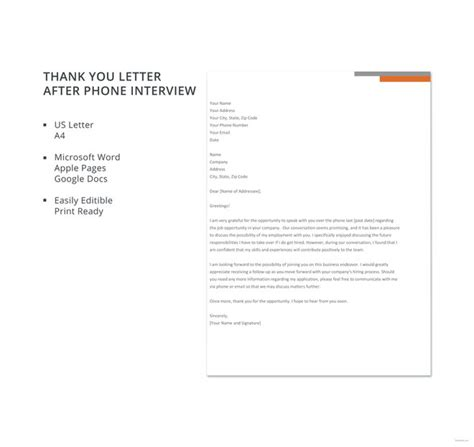 letter phone interview template