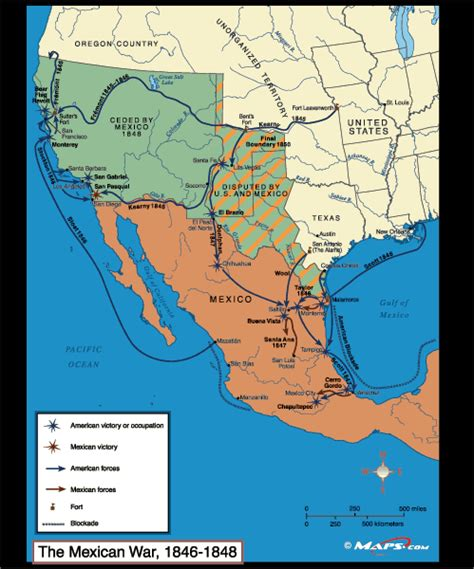 u s mexican war map 1846 1848 by maps from maps