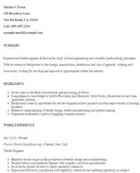Textile Engineering Sle Resume by Technical Resumes Sle Resumes Livecareer