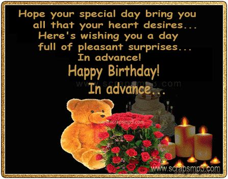 Happy Birthday Wishes In Advance Sms Advance Quotes Like Success