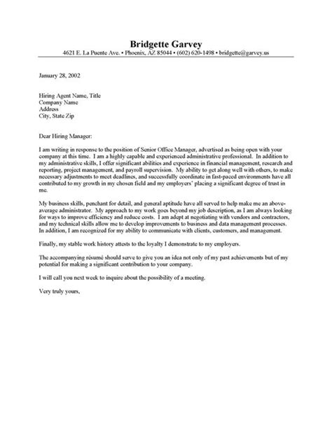 assistant cover letter exles sle cover letter for administrative assistant