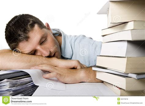Sleeping On Desk by Overwhelmed Sleeping A Pile Of Books