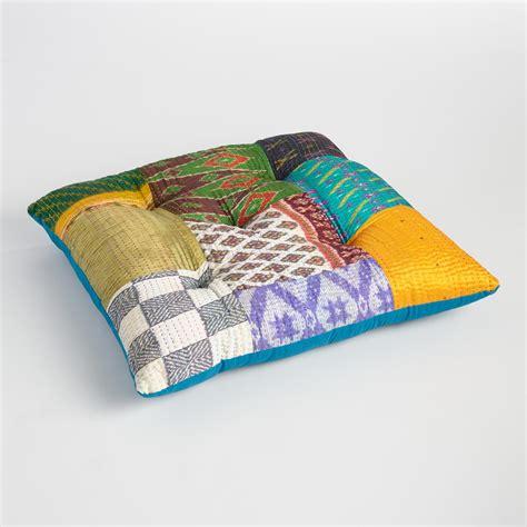 floor pillows embroidered sari patchwork floor cushion world market