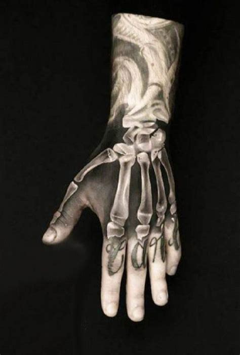 bone hand tattoo 3d x bones tattooed tattoos