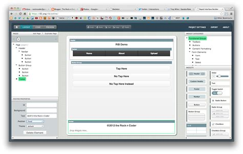 jquery layout ui demo the rock n coder jquery mobile ui builder