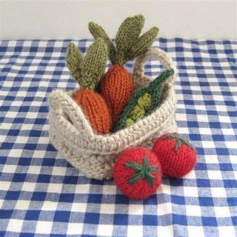 knitted basket pattern fruit vegetables basket mini food knitting pattern