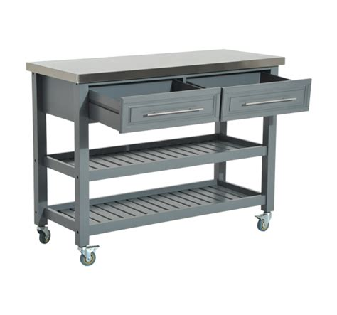 Small Kitchen Island Cart Kitchen Rolling Trolley Cart Storage Stainless Steel Top W