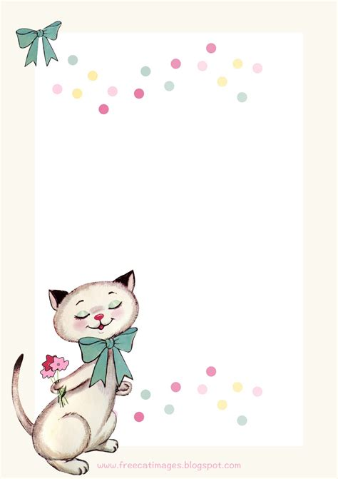 Printable Cat Stationery | free cat images free printable vintage kitty stationery