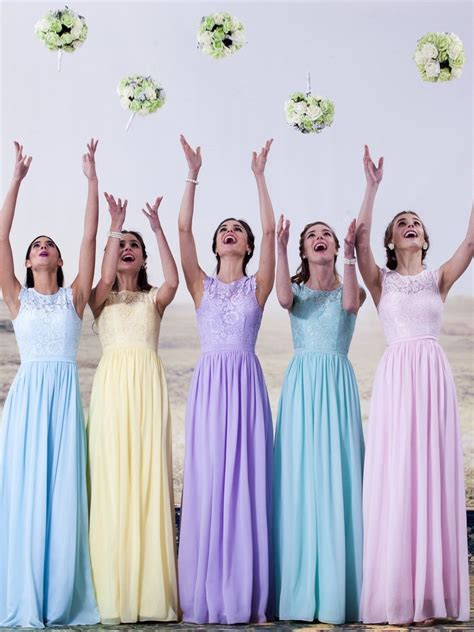 Bridesmaid Dresses All Sizes Uk - lace and chiffon pastel bridesmaid dresses available in