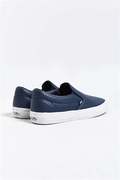 mens leather slip on sneakers vans classic leather slip on sneaker in blue for lyst